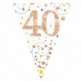 Happy 40th Birthday Rose Gold Party Flag Bunting