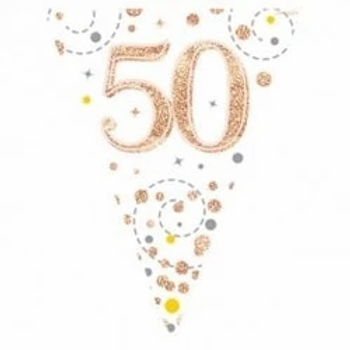 Happy 50th Birthday Rose Gold Party Flag Bunting