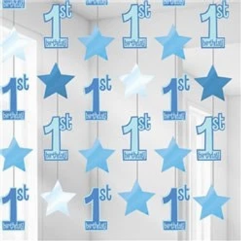 1st Birthday Hanging String Decorations Blue