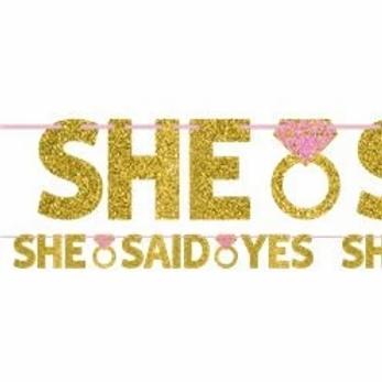 She Said Yes Glitter Letter Banner