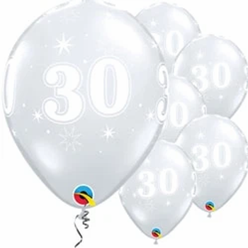 30th Birthday Sparkle-A-Round Diamond Clear Balloons. Pack Of 25.