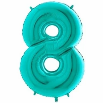 """40"""" Foil Number 8 Balloon Tiffany Blue"""