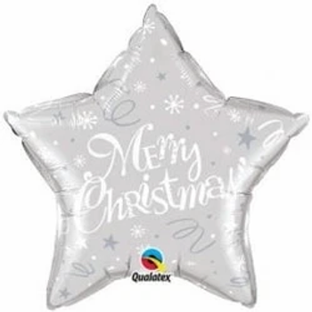 "Merry Christmas Silver Star Shape 18"" Foil Balloon"