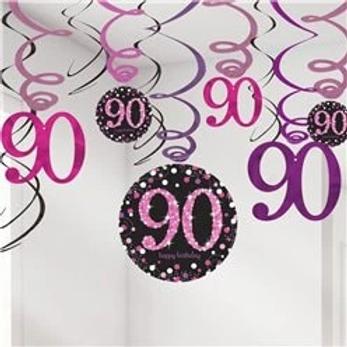90th Birthday Party Hanging Swirls Pink