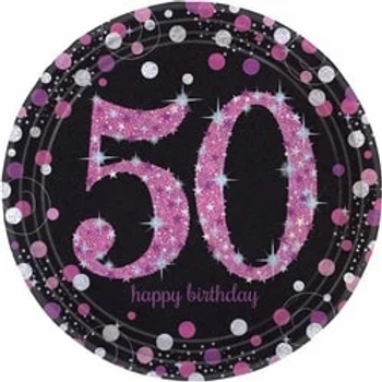 50th Birthday Pink Celebration Party Plates.