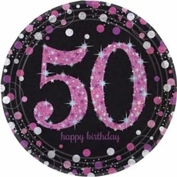 50th Birthday Pink Celebration Party Plates
