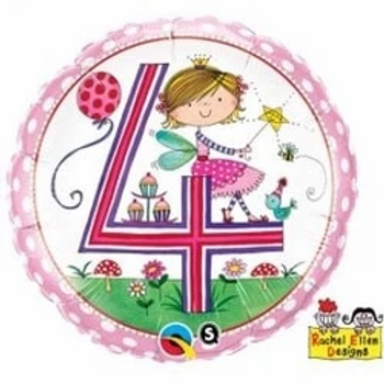 "Age 4 Fairy Polka Dots 18"" Foil Balloon"