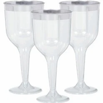 Silver Trim Plastic Wine Glasses