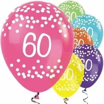 60th Tropical Mix Dots Party Balloons