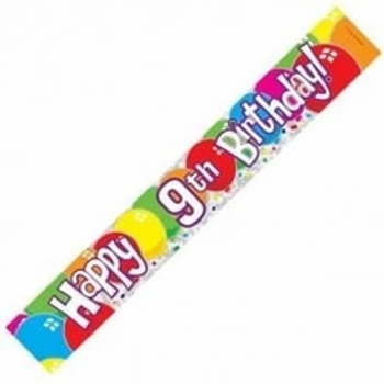 Happy 9th Birthday Party Balloons Banner