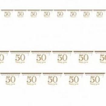 Golden 50th Anniversary Prismatic Pennant Bunting