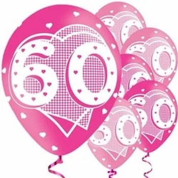 60th Pink Latex Party Balloons