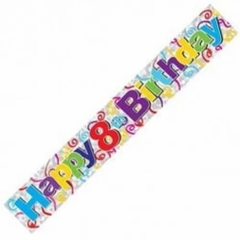 Happy 8th Birthday Holographic Party Banner