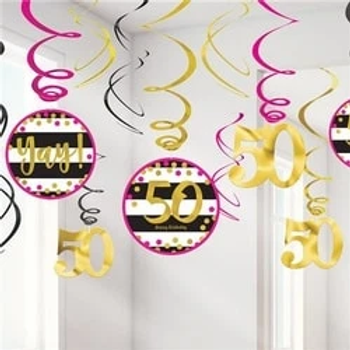 50th Pink & Gold Milestone Hanging Party Swirls