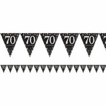 70th Prismatic Party Foil Bunting Gold & Silver