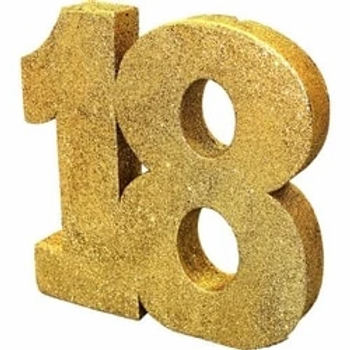 18th Gold Number Table Centrepiece
