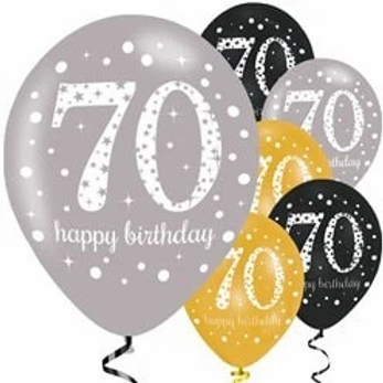 70th Birthday Party Balloons Gold Mix