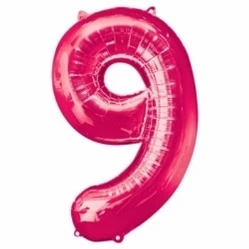 """Pink 34"""" Foil Number 9 Balloon"""