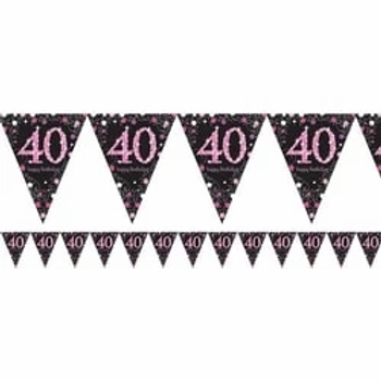 40th Birthday Party Prismatic Number Foil Bunting