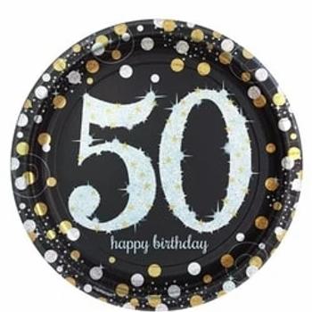 50th Birthday Gold Celebration Party Plates