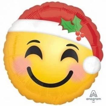 "Santa Hat Emoticon Round Shape 18"" Foil Balloon"
