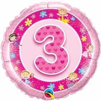 """Age 3 Pink Fairies 18"""" Foil Balloon"""
