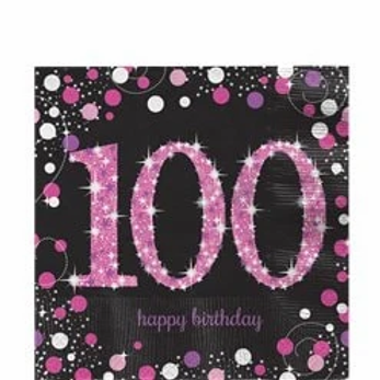 100th Birthday Party Napkins Pink