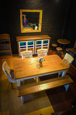 solid recycled timber dining table