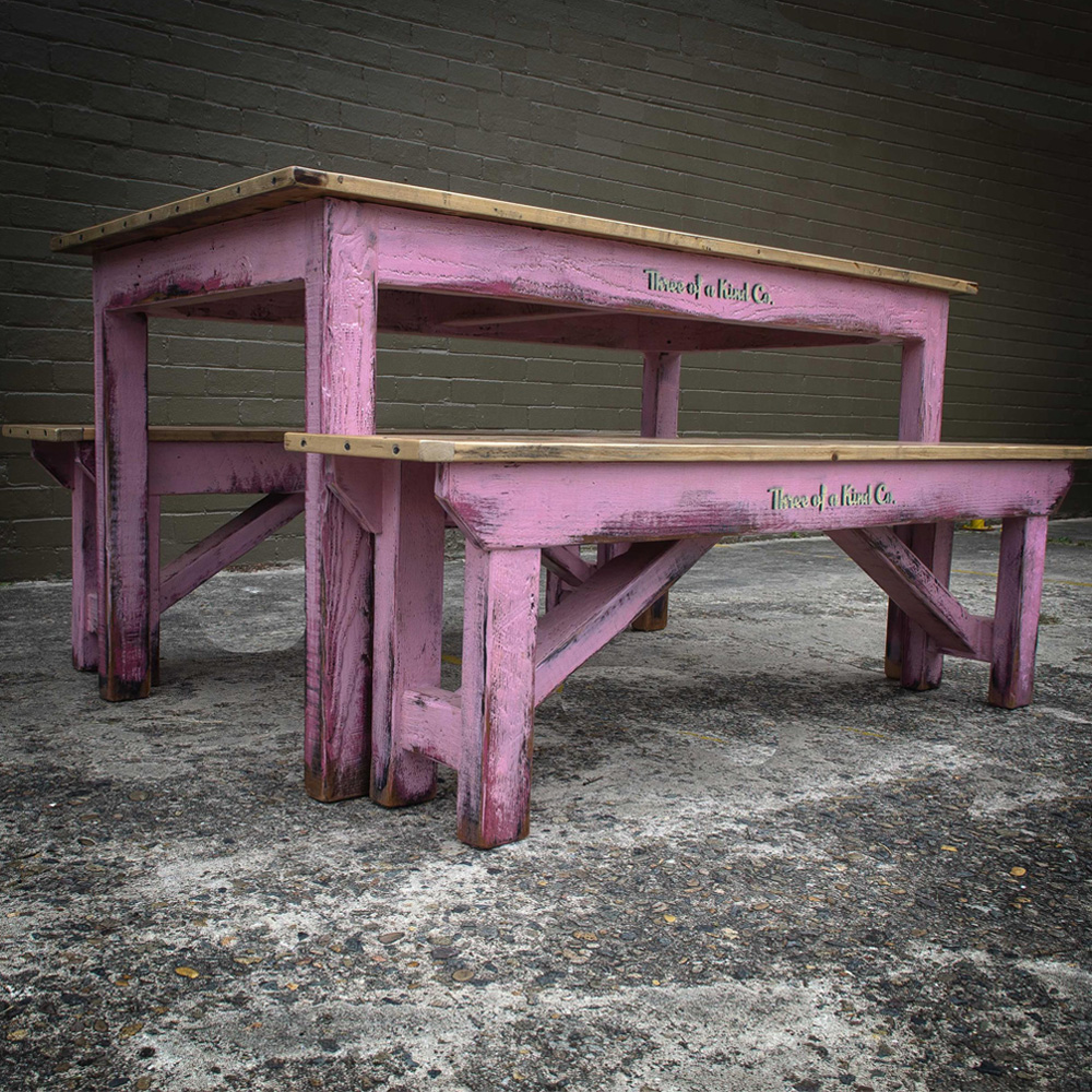 Recycled Timber Table & Bench Set