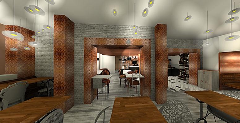 simulation 3D décoration boulangerie rétro chic paris bakery bucarest par la beauté-intérieurs grenoble