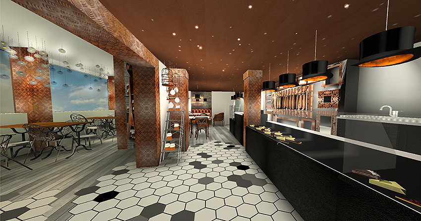 simulation 3Ddécoration boulangerie rétro chic paris bakery bucarest par la beauté-intérieurs grenoble