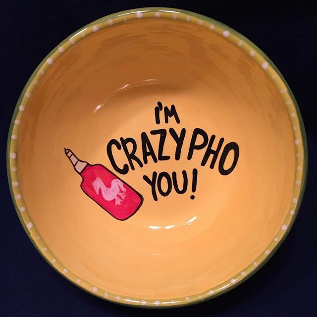 Perfect bowl for 🍜! #kilncreations #paintyourownpottery #pyop #puns #pho #bowl #hotsauce #handmade