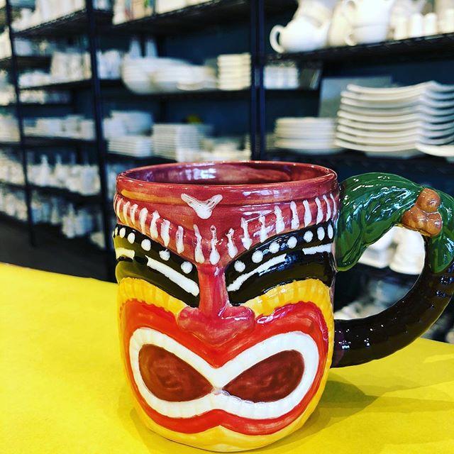 Loving this tiki mug! 😍 #kilncreations #potterypainting #paintyourownpottery #pyop #tiki #tikimug #