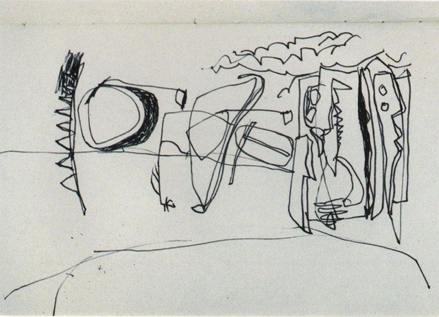 """Drawing """"The Duck Pond"""" 1992 Pen on Paper"""