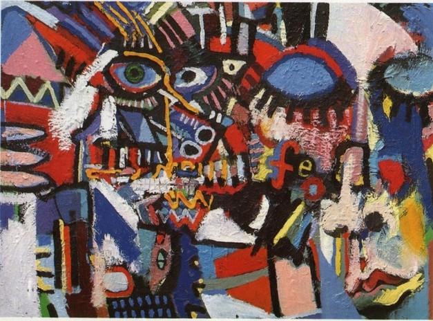 """""""Don't Fight It, Feel It"""" 1991 Oil on Canvas"""