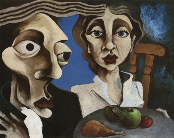 """""""The Meal"""" 1990 Oil and Collage on Canvas"""