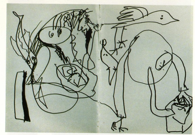 """""""Man With Pigeon's feet"""" 1991 Pen on Paper"""