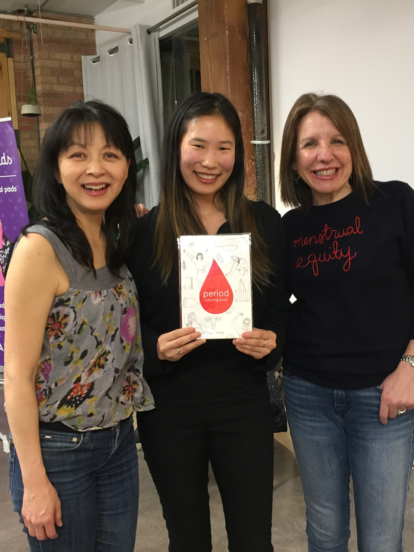 With the co-founder of Lunapads, Suzanne Siemens (left), and author of Periods Gone Wild, Jennifer Weiss-Wolf (right)