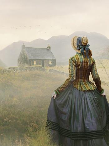 Victorian woman walking on path towards
