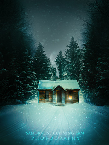 small cabin in a snow covered forest at