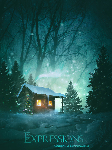 Snowy log cabin and lit christmas trees