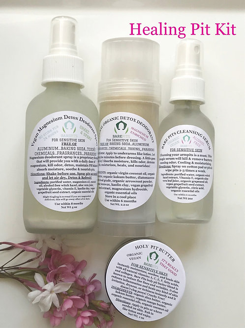 Bare Pits Natural Magnesium Deodorant Spray & Stick, Pit Butter & Pit Cleansing