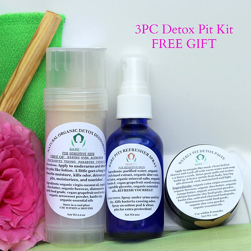 SPECIAL FOR SET OF 3! Organic Detox Deodorant, Refresher Spray, Pit Detox Paste