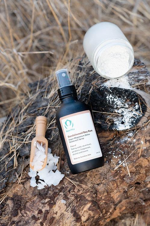 Bare Pits MEN Vegan Magnesium Detox Deodorant Black Frosted Glass Spray 4 oz