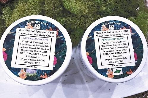 Bare Pits Vegan Hemp FULL SPECTRUM Luxury Body Cream 600mg, 1000mg, 2000mg