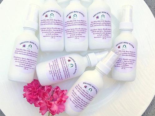 Bare Pits ORGANIC Rose Water Toner For Face & Body 2oz White Matt Bottle