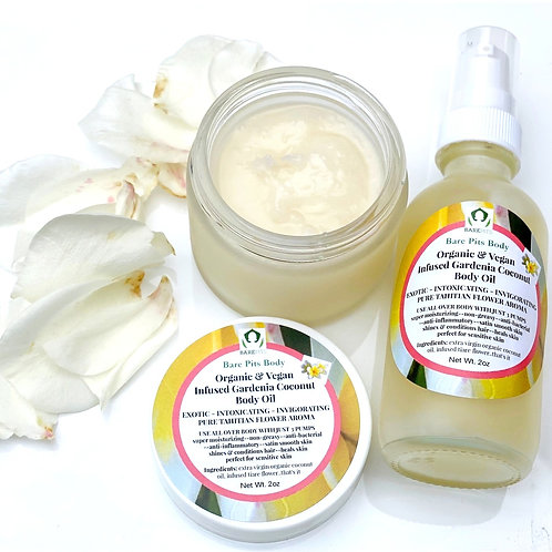 Bare Pits Body Organic Infused Gardenia Tiare Coconut EXOTIC Body Oil 2oz