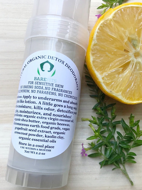 Bare Pits Natural Organic Detox BPA FREE Deodorant 2.2oz Stick REG/XTRA