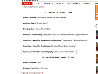 Icarus and The Yellow Birds won at Sundance!!!!