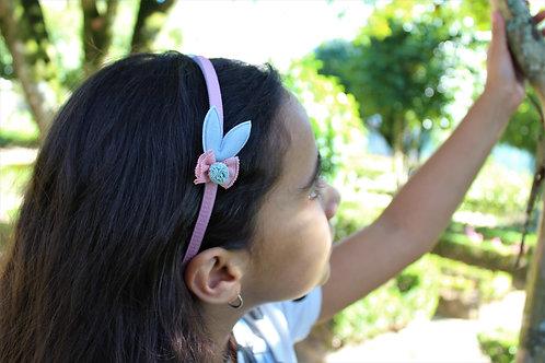 Bandolete Rosa com Orelhinhas Azuis
